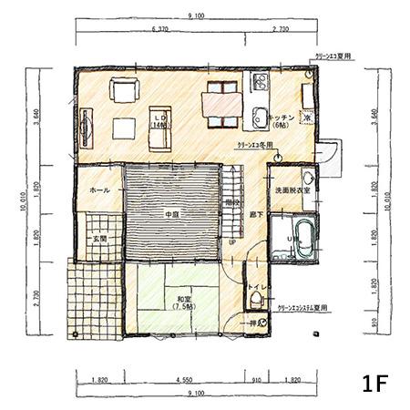 1階床面積 67.90㎡(20.49坪)